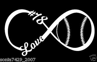 Love Baseball Softball Infinity Decal With Number - Window Sticker Bumper Laptop