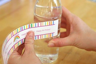 Custom water bottle labels. I made these for Madison's 5th birthday party and they were super easy!
