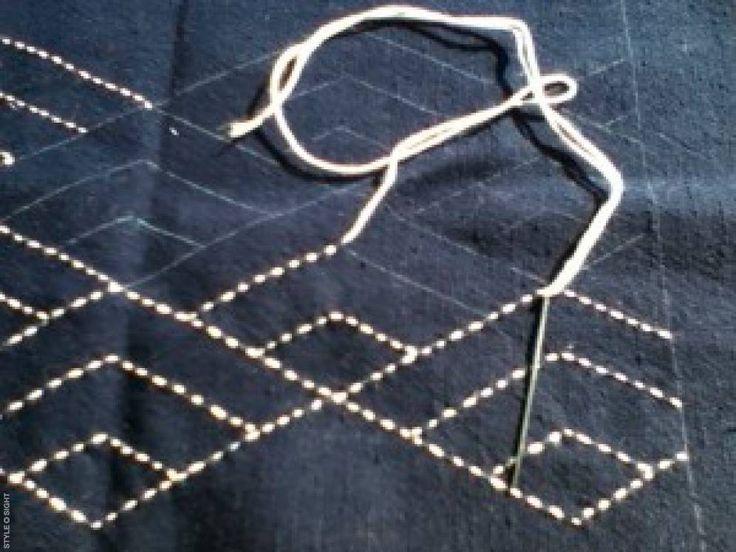 Japanese Stitching on Indigo