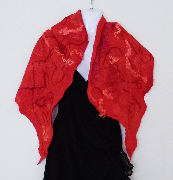 Felted cobweb scarf wrap merino wool red pink by Katrinmania