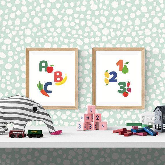 PAIR of PRINTABLE 8x10 inch nursery wall art, toddler room, alphabet AND numbers print bundle