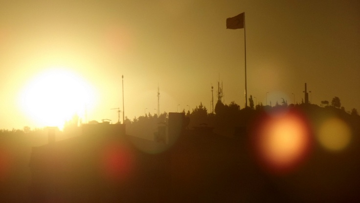 The flag's appearance when the sun sets..
