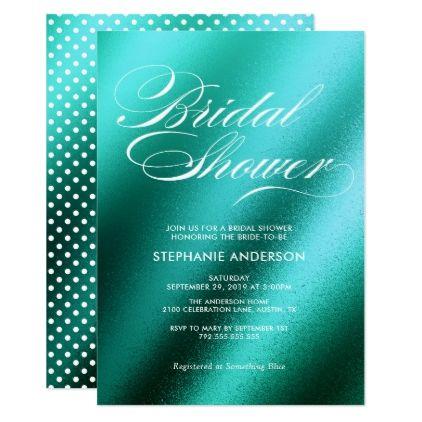 #Elegant wedding teal bridal shower card - #weddinginvitations #wedding #invitations #party #card #cards #invitation #elegant