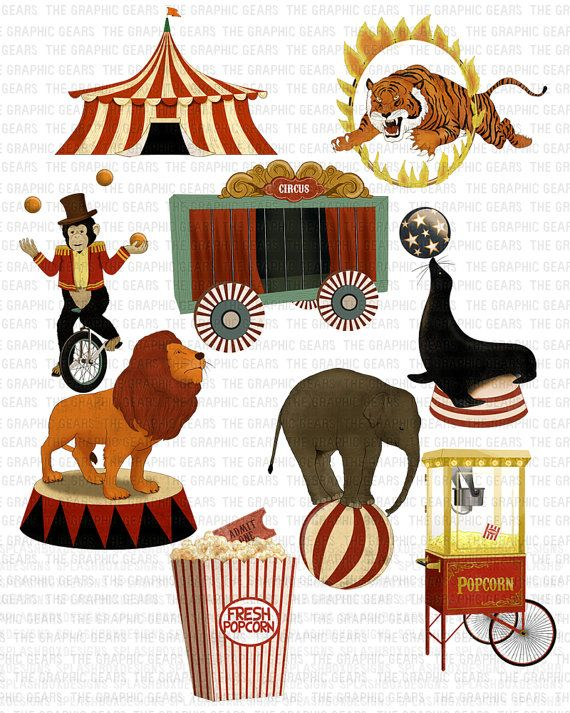 Circus Clip Art Vintage Circus Clipart Highly by GraphicGears