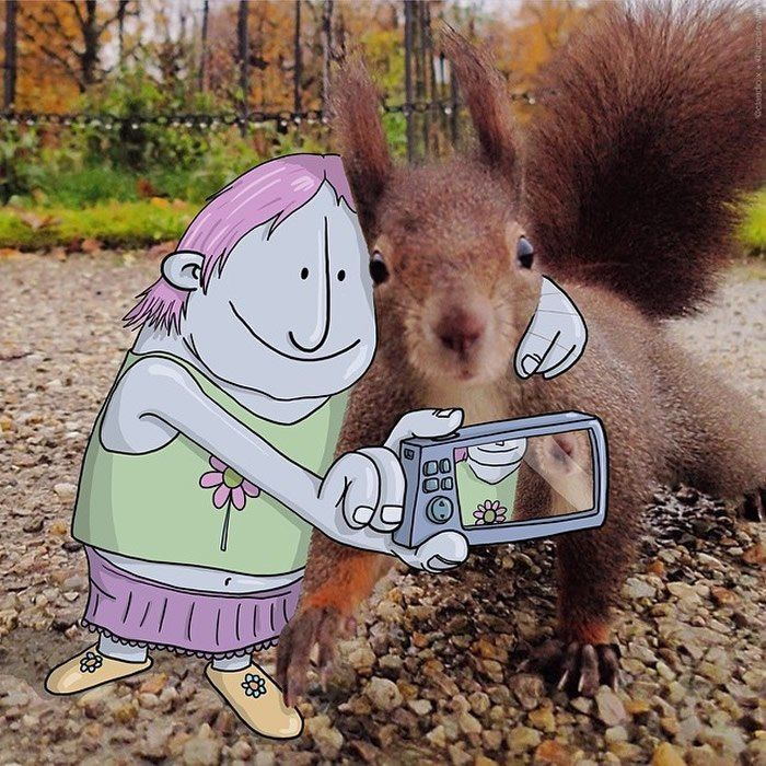 """The Selfie  """"Photo Invasion"""" - The Awesome Illustrations Combined With Instagram Photos • Page 4 of 5 • BoredBug"""