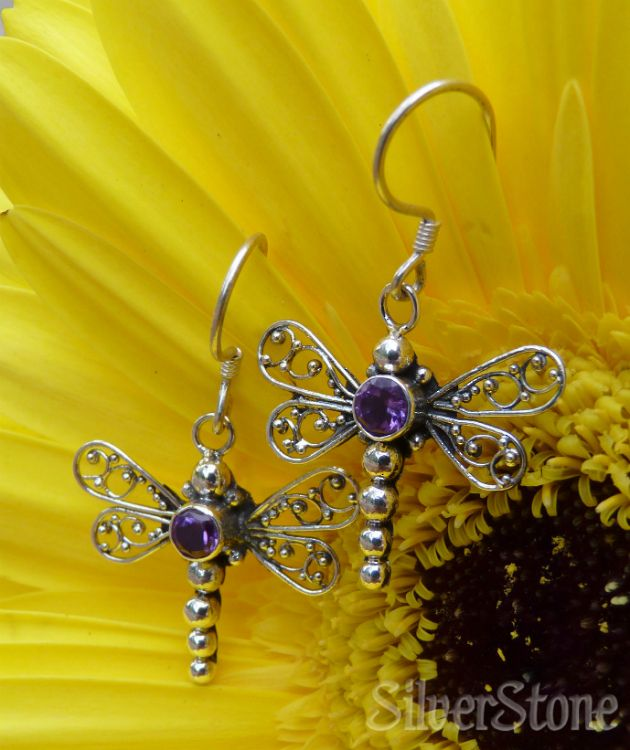 Amethyst dragonfly earrings   February birthstone