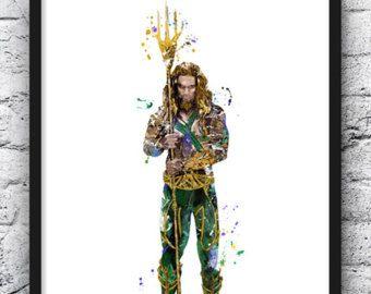 Flash Aquaman acuarela grabado, cartel de película, superhéroes, Batman Superman Wonder Woman, Justicia Liga pared arte Kids Room Decor vivero - 625