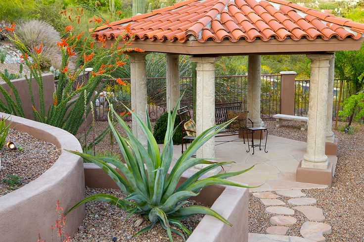 Octagon Gazebo Antiqued Concrete Cdi Columns On Stucco