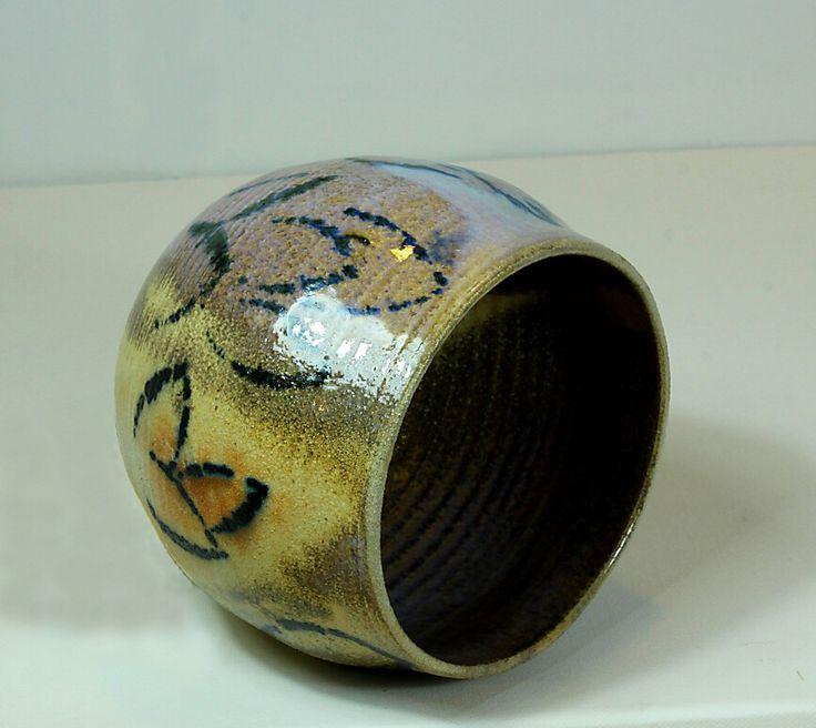 Pirjo Lautiainen, wheel thrown and anagama fired pot, blue chun glaze, 2016