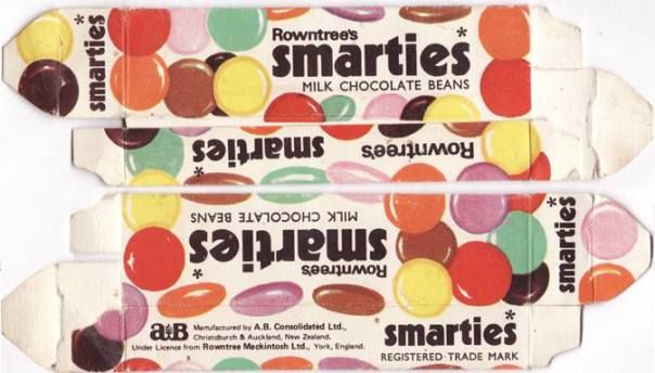 Rowntrees Smarties box, mid 1970s. When they had 2 shades of brown and NO blue. Much better back then.