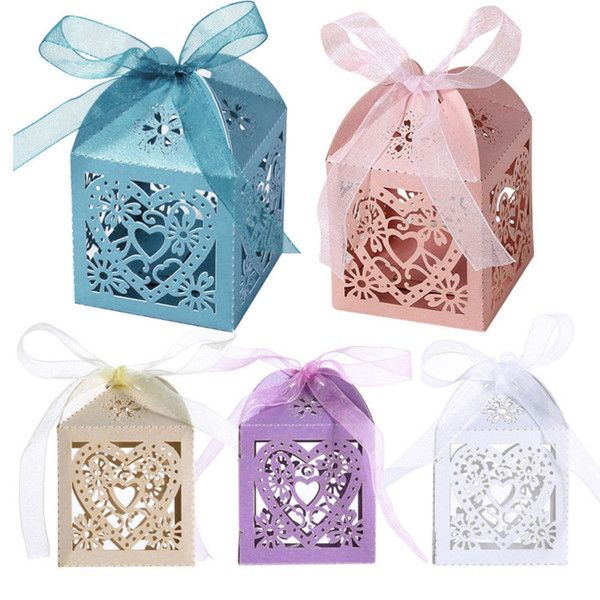 Hotsale 10Pcs/set Love Heart Party Wedding Candy Boxes Favor Ribbon Gift Candy Boxes Wedding Party