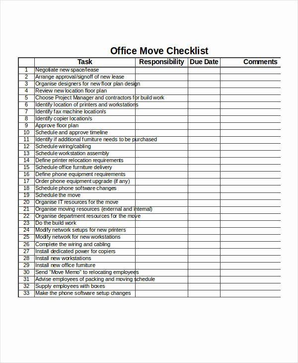 Moving Office Checklist Template Luxury 21 Examples Of Checklists In Excel Checklist Template Templates Printable To Do Lists
