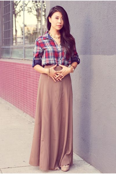 Maxi Skirt http://www.chictopia.com/photo/show/772847-Flannel+Power-brown-forever21-skirt-magenta-bella-dahl-shirt