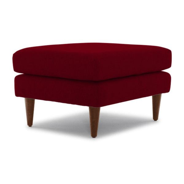 Joybird Korver Mid Century Modern Red Ottoman ($399) ❤ liked on Polyvore featuring home, furniture, ottomans, red, mid-century modern furniture, padded footstool, cushioned ottoman, red ottoman and mid century footstool