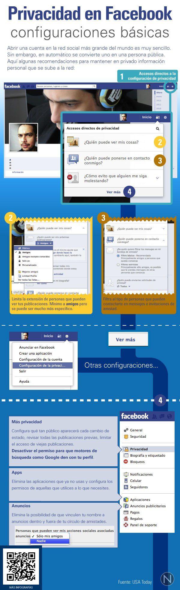 Privacidad en FaceBook: configuraciones básicas #infografia #infographic #socialmedia