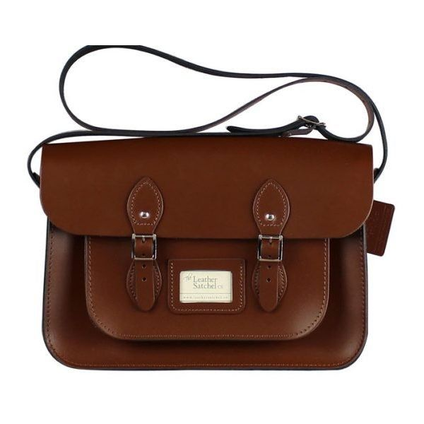 14-inch Classic Satchel made from Chestnut Brown Leather ($155) ❤ liked on Polyvore featuring bags, handbags, genuine leather handbags, brown satchel purse, brown satchel, leather satchel and real leather handbags