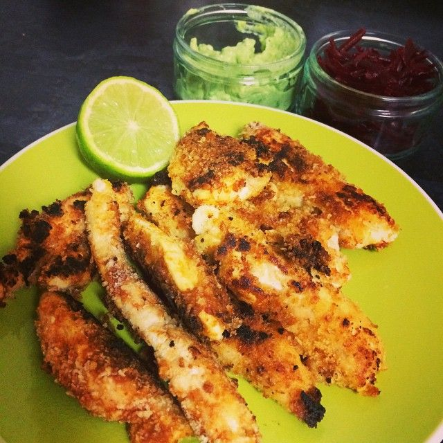 Mustard and paprika chicken goujons