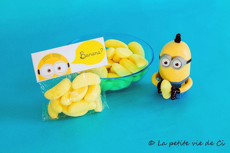 Anniversaire thème Minions: idée petit sachet bonbons pour les invités - Birthday Minions Anniversaire Minions Printables Imprimables