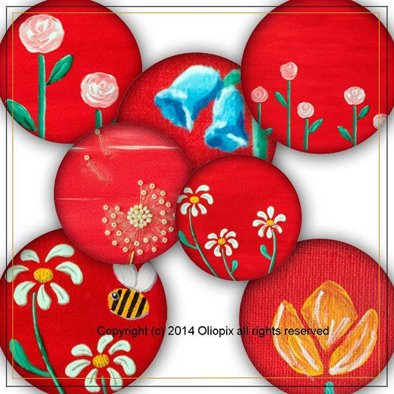 Spring Flowers  Digital Collage Sheet, 35 1 inch round images
