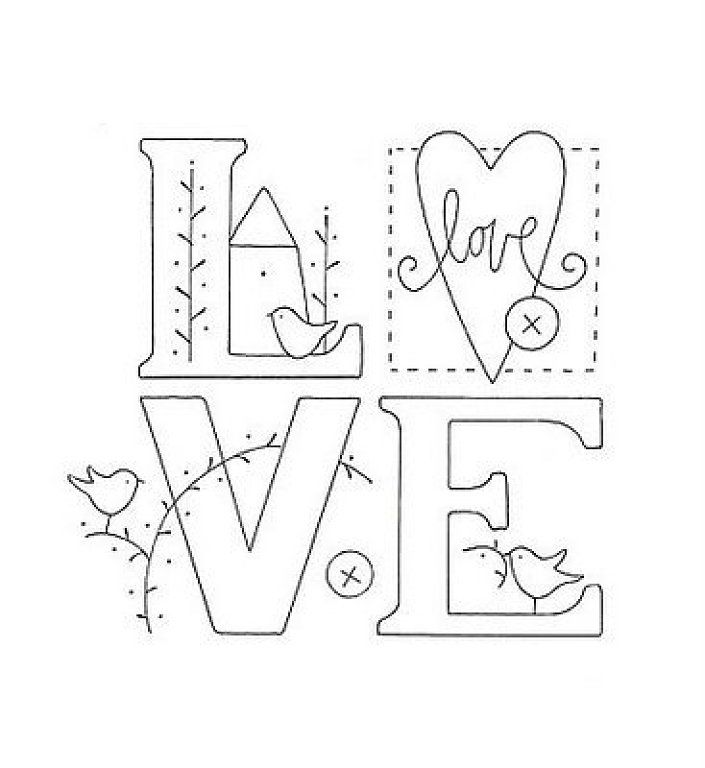 Letras love para bordar ideas pinterest la web and love - Letras para pintar en tela ...