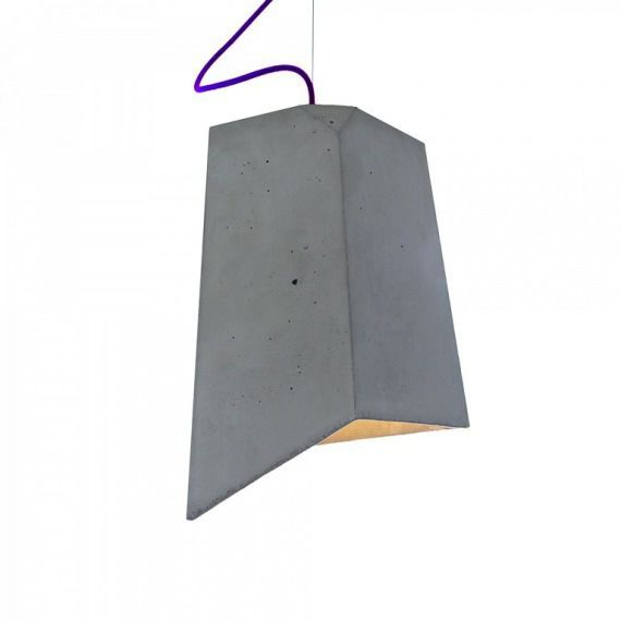 Lampa betonowa loft kolorowe kable fioletowa