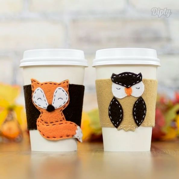 DIY Woodland Fox and Owl Coffee Cup Sleeves Tutorial with FREE Templates – Factory Direct Craft Blog