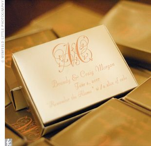 "Cake was packaged in monogrammed gold boxes for guests to take home. The couple's message to the guests: ""Remember the Alamo with a slice of cake."""