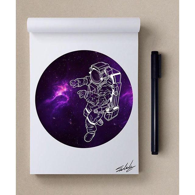 Прикольные рисунки в скетчбук космос