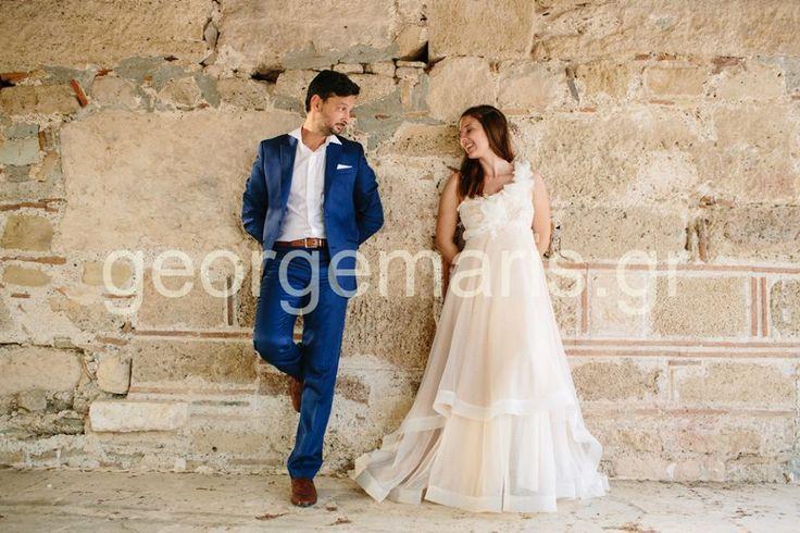 Eleni Kollarou / Lace and doted tulle wedding dress