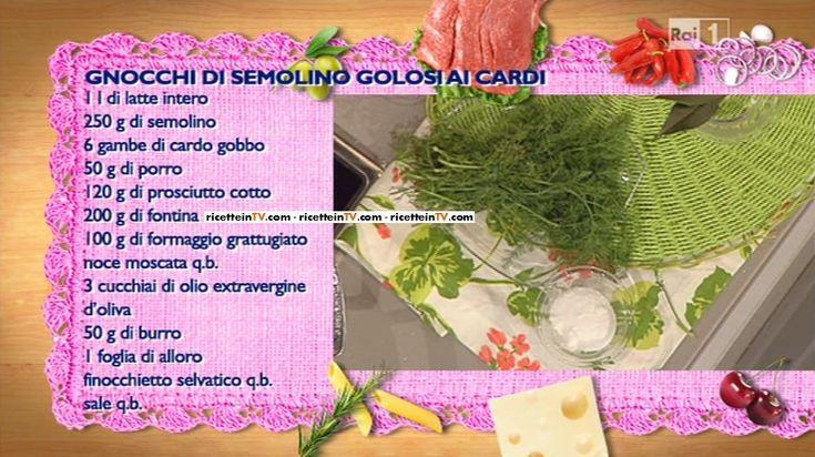 La ricetta degli gnocchi di semolino golosi ai cardi di Sergio Barzetti del 11 febbraio 2015 – La prova del cuoco