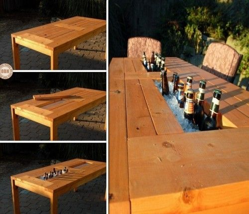 table with a drink cooler in the center (via theownerbuildernetwork)