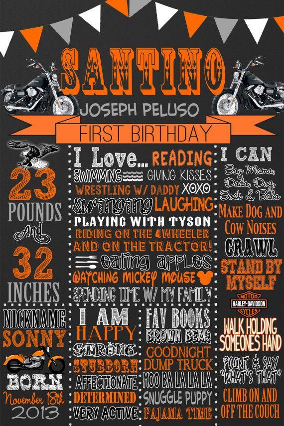 Custom Harley Davidson Birthday 1st birthday by CustomPrintablesNY