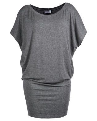 Keep your look smart and sophisticated with this charcoal grey�Jackie Dress�from Michelle Ludek. The soft, synthetic frock does not crease easily and has a loose, flowing top that complements both small and larger figures. It also has short, butterfly sleeves and a bateau neckline, as well as a tight, knee-length skirt. Dress it up with a formal blazer and heels and you\'ll be ready for anything�from the office to the party.