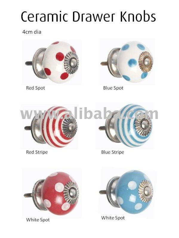 Ceramic knobs stripes and dots