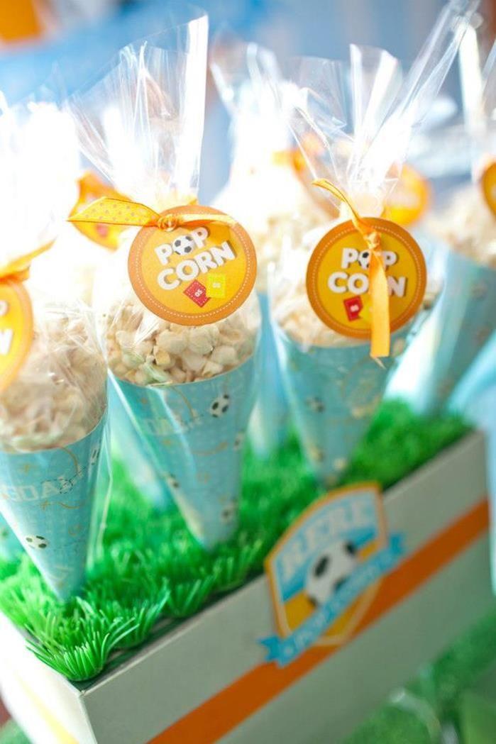 Popcorn favors at a Girl Soccer Party via Kara's Party Ideas | Kara'sPartyIdeas.com #Girl #Soccer #Party #Ideas #Supplies #favors #popcorn