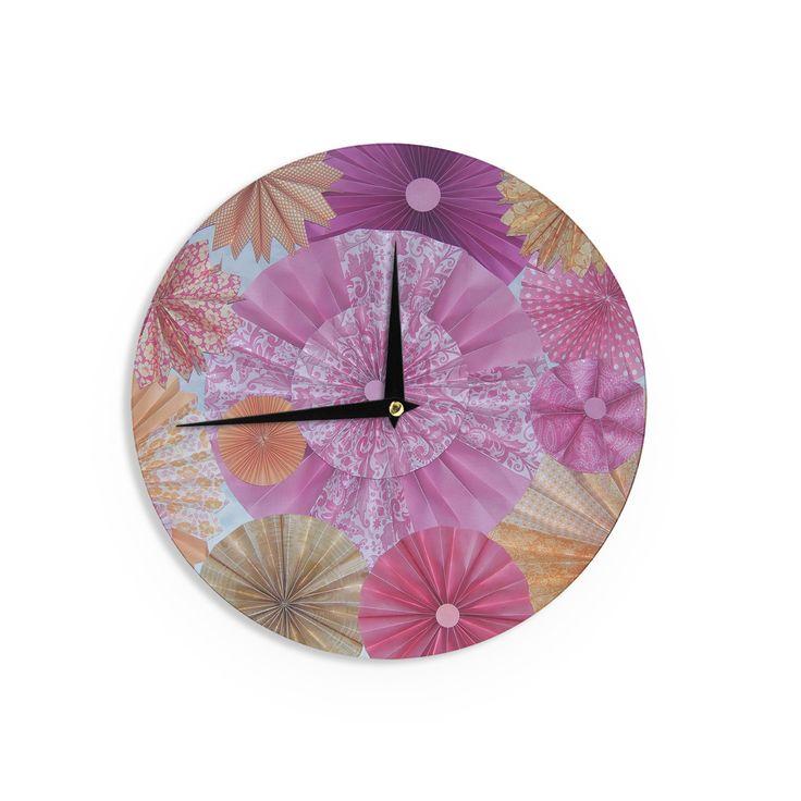 "Heidi Jennings ""Blossoming"" Pink Orange Wall Clock"