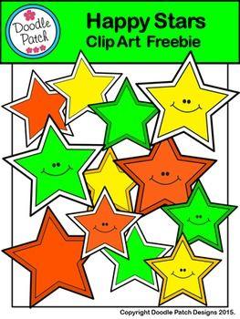 happy stars clip art citrus brights freebie