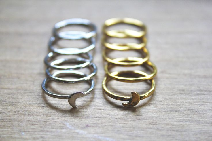 Eclipse Midi Ring Sets - Antiqued Gold + Silver | Crescent Moon | www.nakedfaun.com