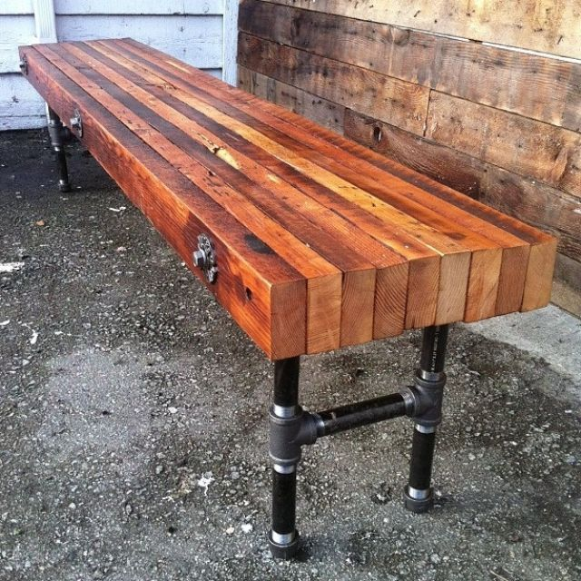 Industrial Style Steel Pipe Pine Wood Tables Desks A: Bench Design From Bolted Lumber And Black Pipe Fittings