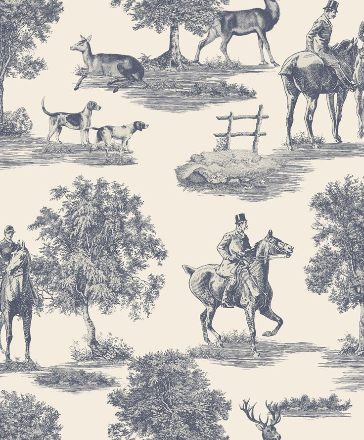 Hunters Lodge Royal Blue wallpaper by SketchTwenty 3