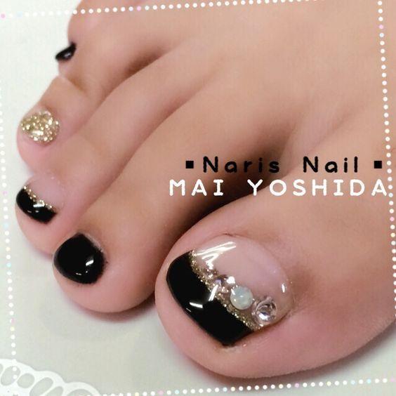 Blacl-Gold French Toe nail art #nailbook