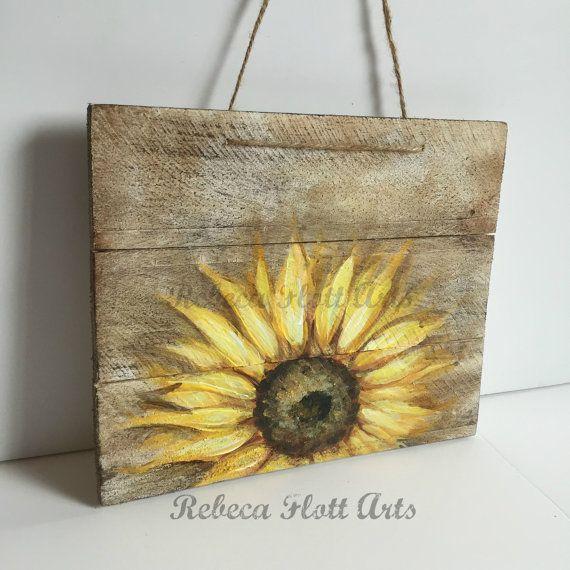 Wood Pallet Sign,Sunflower on rustic wood , original hand painted by Rebeca Flott,