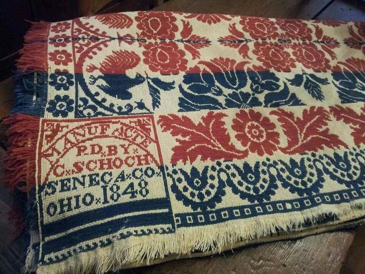 1848 Woven Coverlet From Senaca Co. Ohio