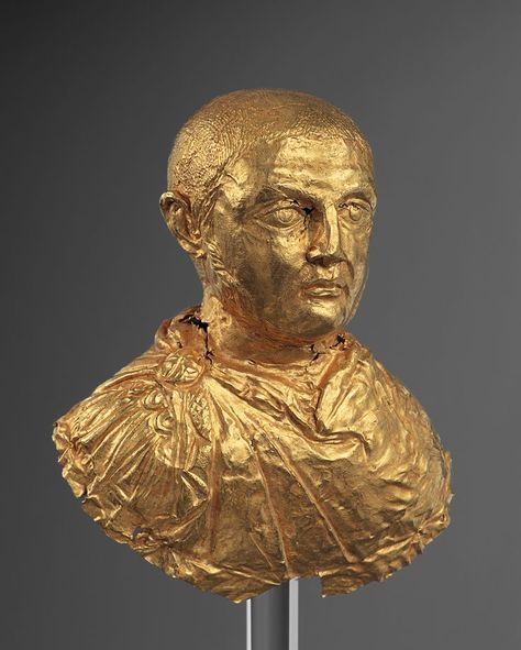 Roman Gold Bust of the Emperor Licinius. Beginning of the 4 century A.D. (ca. 300-320 A.D.). Ex-Swiss private collection, Geneva, Switzerland