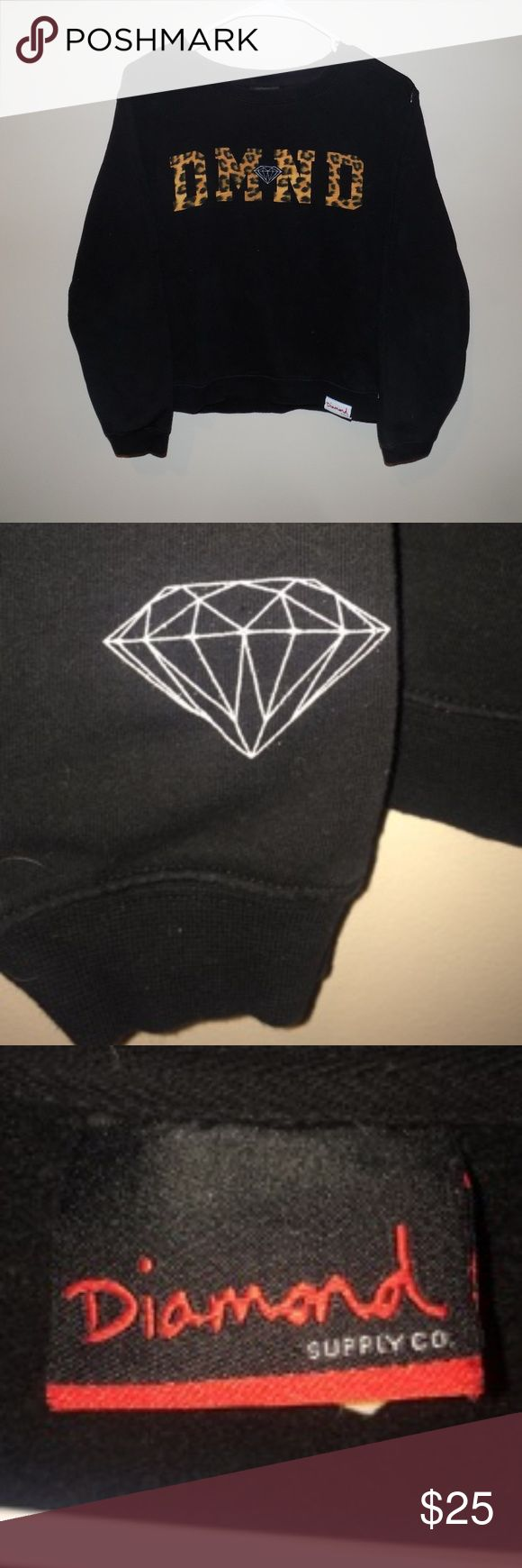 Women's Cheetah Print Diamond Supply Crewneck Women's Cheetah Print Diamond Supply Crewneck. Sweatshirt is still in really good condition with the only flaw being a small hole on the sleeve, other than that the sweatshirt still looks like it's in perfect condition! There is no cracking or fading on the lettering! Diamond Supply Co. Sweaters Crew & Scoop Necks