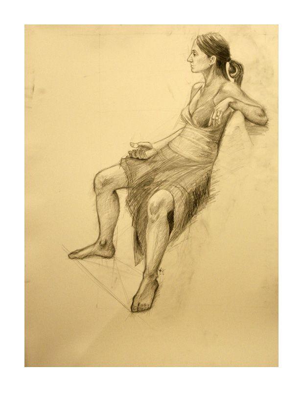 Women on chair #chair #girl #pencil #women #pencildrawing #academic #art