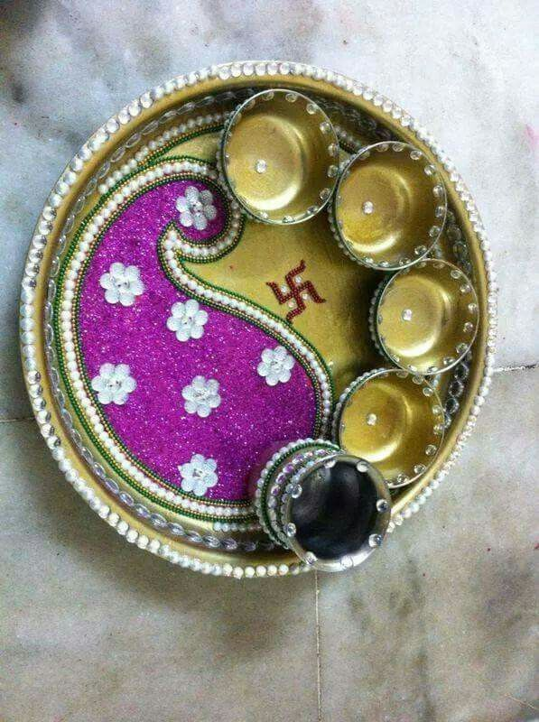 Pooja thali decoration aarti thali pinterest decoration for Aarti thali decoration with flowers