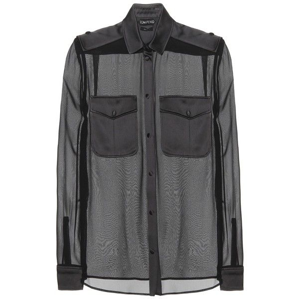 Tom Ford Sheer Silk Blouse found on Polyvore featuring tops, blouses, shirts, t-shirts, black, sheer silk blouse, black shirt, black blouse, shirts & tops and tom ford