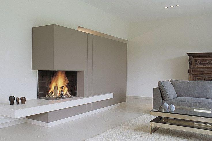 Foyer fermé à bois / d'angle / en métal / avec porte escamotable LATERAL 900 TOTEM fire