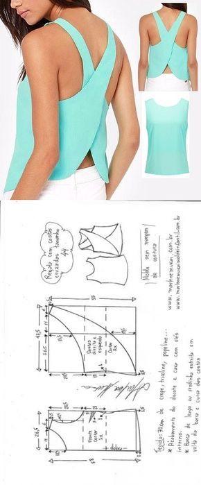 Blusa regata cruzada   DIY - molde, corte e costura - Marlene Mukai